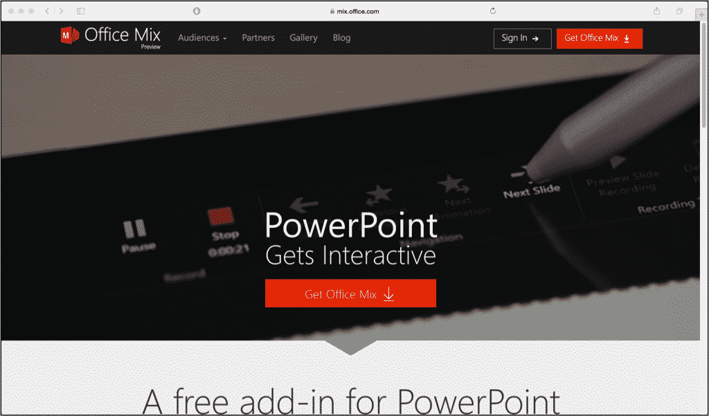 "Office Mix for PowerPoint 2013 Preview Now Available: A picture of the ""Office Mix"" website."