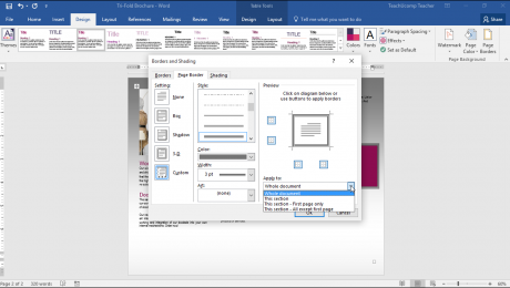 Use Page Borders in Word - Instructions: A picture of a user customizing the page border settings in Word.