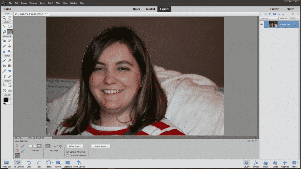 The Auto Selection Tool in Photoshop Elements - Instructions: A picture of a user refining the initial selection made by the Auto Selection Tool in Photoshop Elements.