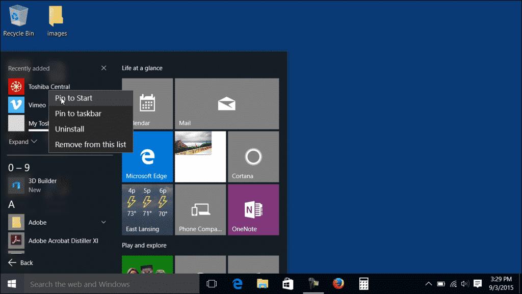 Customize the Start Menu in Windows 10 - Tutorial: A picture of a user adding a tile to the Start Menu in Windows 10.