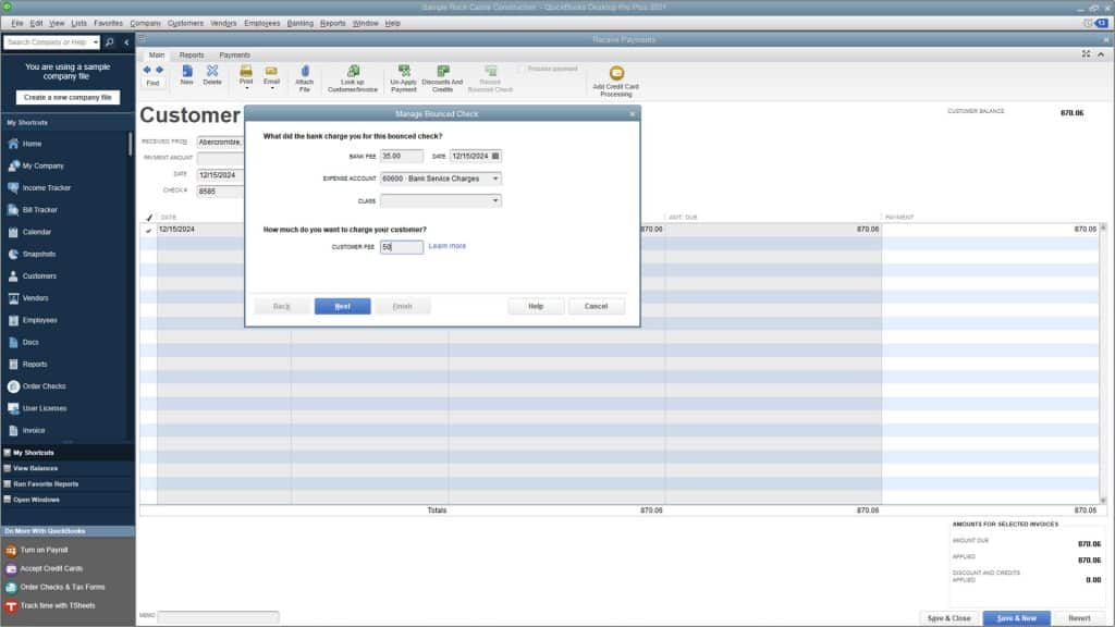 """Bounced Checks in QuickBooks Desktop Pro- Instructions: A picture of the """"Manage Bounced Check"""" window in QuickBooks Desktop Pro."""