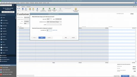 "Bounced Checks in QuickBooks Desktop Pro- Instructions: A picture of the ""Manage Bounced Check"" window in QuickBooks Desktop Pro."