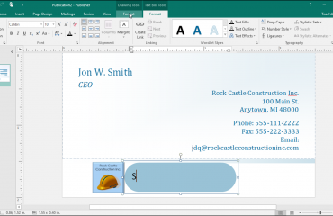 Add Text to Shapes in Publisher: A picture of a user adding text to a shape in Publisher.