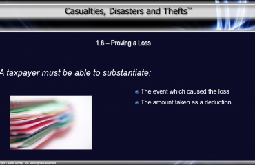 Prove a Casualty or Theft Loss to the IRS - Tutorial: A picture of what a taxpayer must be able to substantiate to the IRS in order to claim a deduction for a loss.