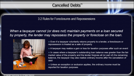 Canceled Debt Related to a Repossession or Foreclosure - Tutorial: A picture of a slide that summarizes the content of the previous paragraph.