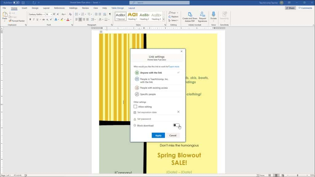 """Share Documents in Word - Instructions: A picture of a user changing sharing settings in the """"Link settings"""" pane in Word."""