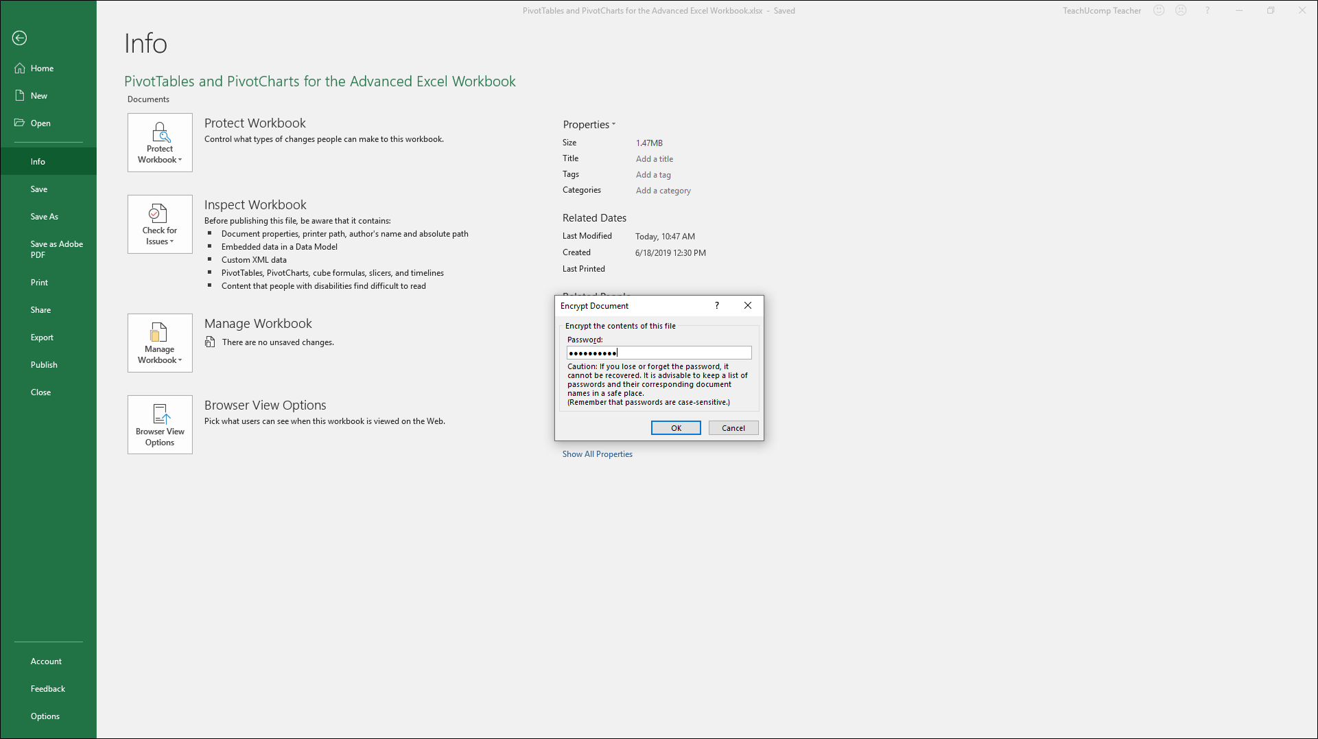 Apply Password Protection To An Excel File Instructions
