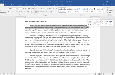 Delete Text in Word- Instructions: A picture of a user selecting the text to delete in a Word document.