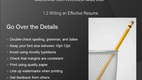 Resume Writing Tips- Tutorial: A picture of the list of things you should review when writing a resume.