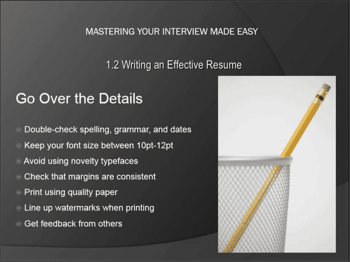 resume writing tips- tutorial