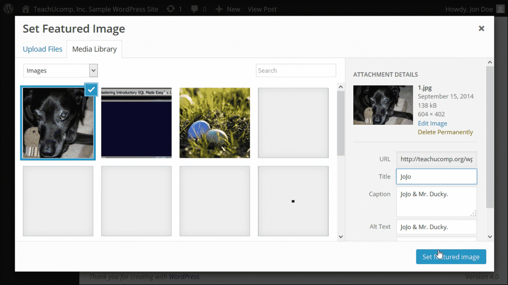 Featured Image in WordPress - Tutorial: A picture of a user adding a selected image as a featured image to a post in WordPress.