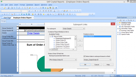 Subreports in Crystal Reports 2013- Tutorial: A picture of the