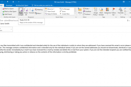 Reply to an Email in Outlook - Instructions: A picture of a user replying to an email in Outlook.