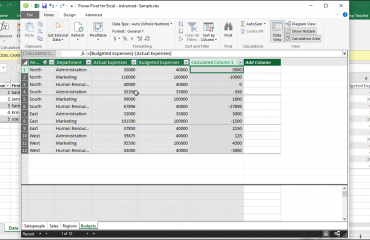 Create Calculated Columns in Power Pivot in Excel 2016 - Tutorial: A picture of a calculated column created within the data model window of Power Pivot in Excel 2016.