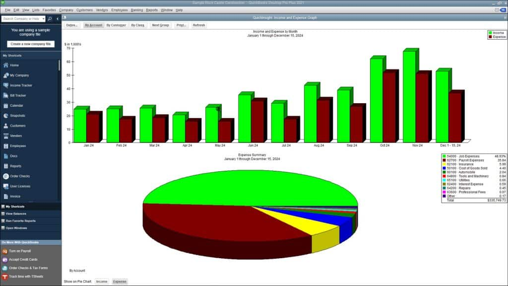 Use Graphs in QuickBooks Desktop Pro- Instructions: A picture of the Income and Expense Graph in QuickBooks Desktop Pro.