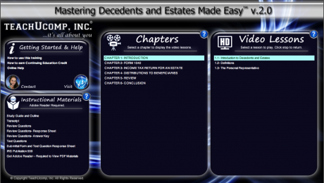 Buy Decedents and Estates Training at TeachUcomp, Inc.: A picture of the training interface for