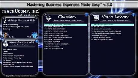 Buy Business Expenses Training at TeachUcomp, Inc.: A picture of the training interface for