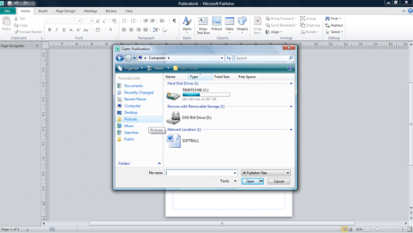 Open a Publication in Publisher 2010 - Tutorial: A picture of the