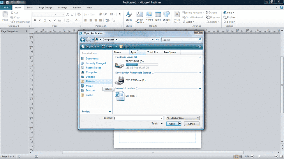 """Open a Publication in Publisher 2010 - Tutorial: A picture of the """"Open Publication"""" dialog box in Publisher 2010."""