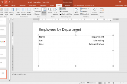 Tabs in PowerPoint- Instructions: A picture of a user applying tab stops to a text box in PowerPoint.