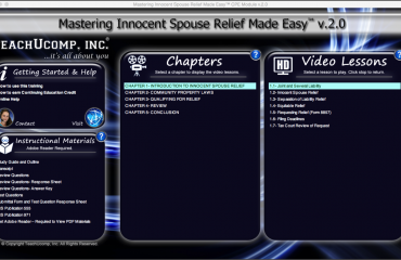Buy Innocent Spouse Relief Training at TeachUcomp, Inc.: A picture of the training interface for
