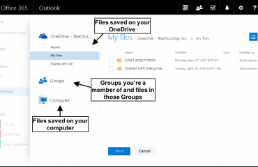 Send Attachments from OneDrive in Outlook Web App - Tutorial: A picture of a user attaching a file from OneDrive to an email message using the Outlook Web App.