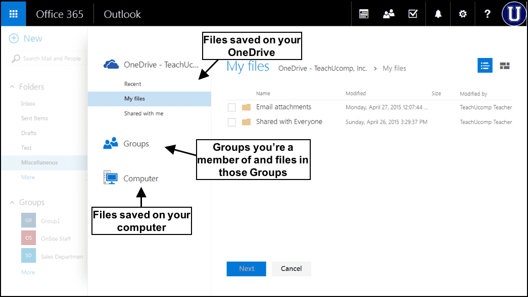 Send Attachments from OneDrive in Outlook Web App