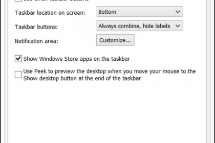 Moving and Resizing the Taskbar in Windows 8.1- Tutorial: A picture of the Taskbar and Navigation Properties