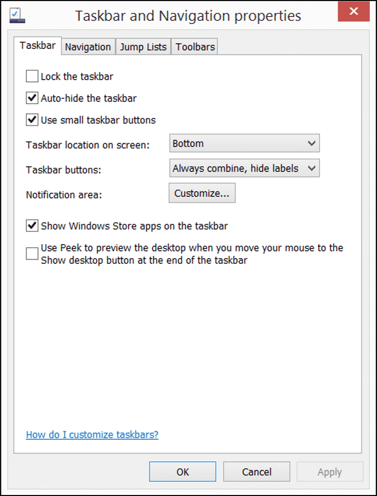 """Moving and Resizing the Taskbar in Windows 8.1- Tutorial: A picture of the Taskbar and Navigation Properties"""" dialog box in Windows 8.1."""