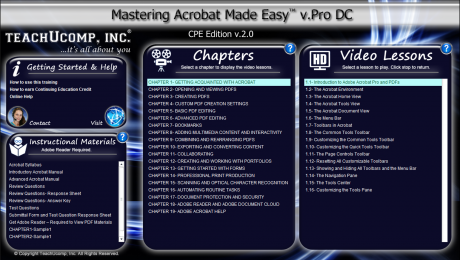 "Buy Acrobat Training at TeachUcomp, Inc.: A picture of the interface for the digital download or DVD versions of ""Mastering Acrobat Made Easy v.Pro DC,"" the Acrobat tutorial from TeachUcomp, Inc."