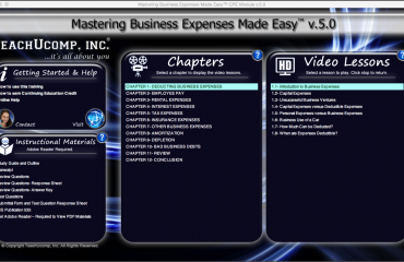 Bad Business Debts- CPE Tutorial: A picture of the training interface for
