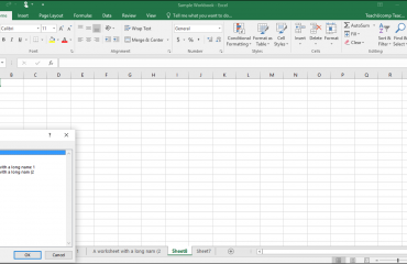 """Navigating Worksheets in Excel - Instructions: A picture of the """"Activate"""" dialog box in Excel."""