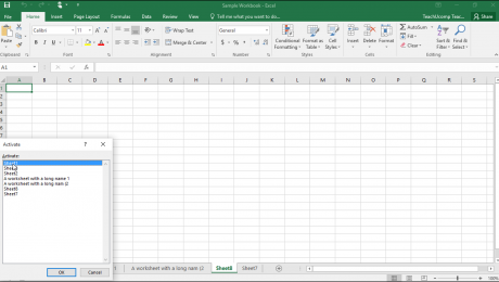 "Navigating Worksheets in Excel - Instructions: A picture of the ""Activate"" dialog box in Excel."