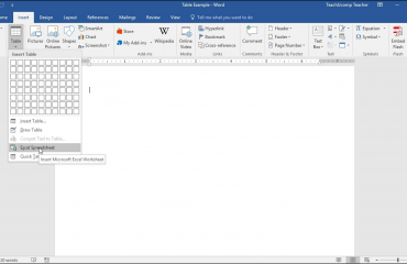 Insert an Excel Worksheet into a Word Document – Tutorial: A picture of a user inserting an Excel spreadsheet into a Word document.