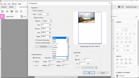 "Crop Pages in Adobe Acrobat - Instructions: A picture of the page cropping options in the ""Set Page Boxes"" dialog box within Acrobat Pro DC."