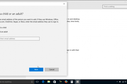Family and Other Users in Windows 10 - Tutorial: A picture of a user creating a family user account in Windows 10.