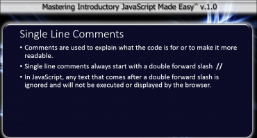 Comments in JavaScript - Tutorial: A picture describing the use of single-line comments in JavaScript.