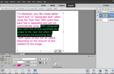 Select Text in Photoshop Elements- Instructions: A picture of a user selecting paragraph text within Photoshop Elements 15.