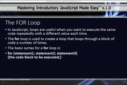 The FOR Loop in JavaScript- Tutorial: A picture from