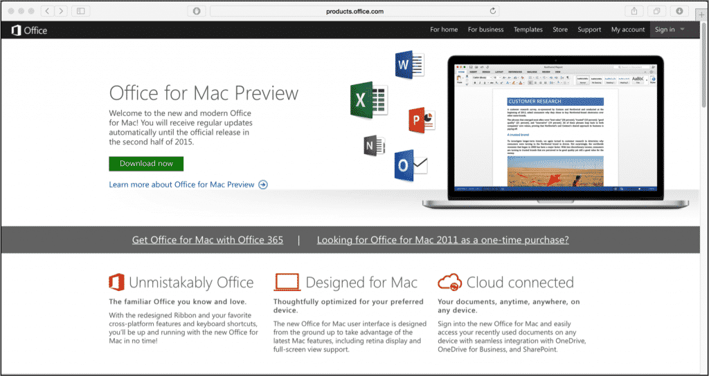 "Office for Mac 2016 Preview Build Released: A picture of the ""Office for Mac Preview"" website. (Source: Microsoft)"