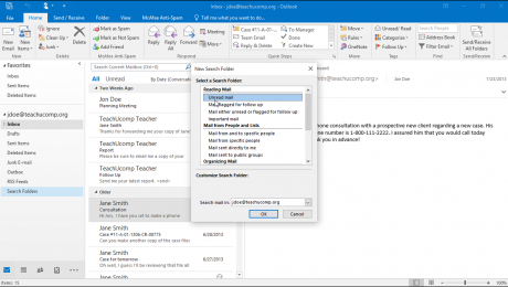 "Use Search Folders in Outlook: A picture of the ""New Search Folder"" dialog box in Outlook."