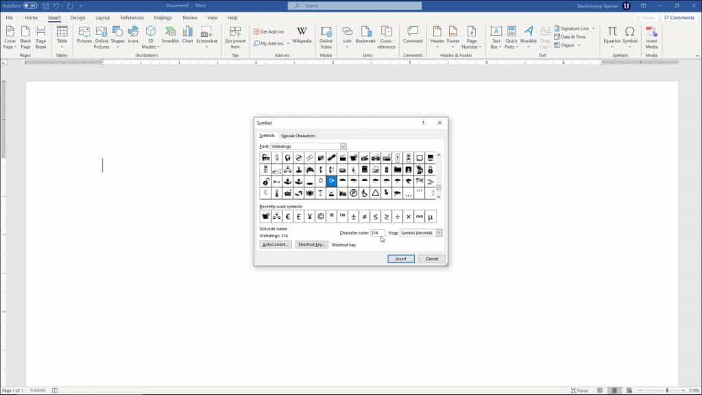 "Insert a Symbol in Word- Instructions and Video Lesson: A picture of a user adding a symbol to a document using the ""Symbol"" dialog box in Word."