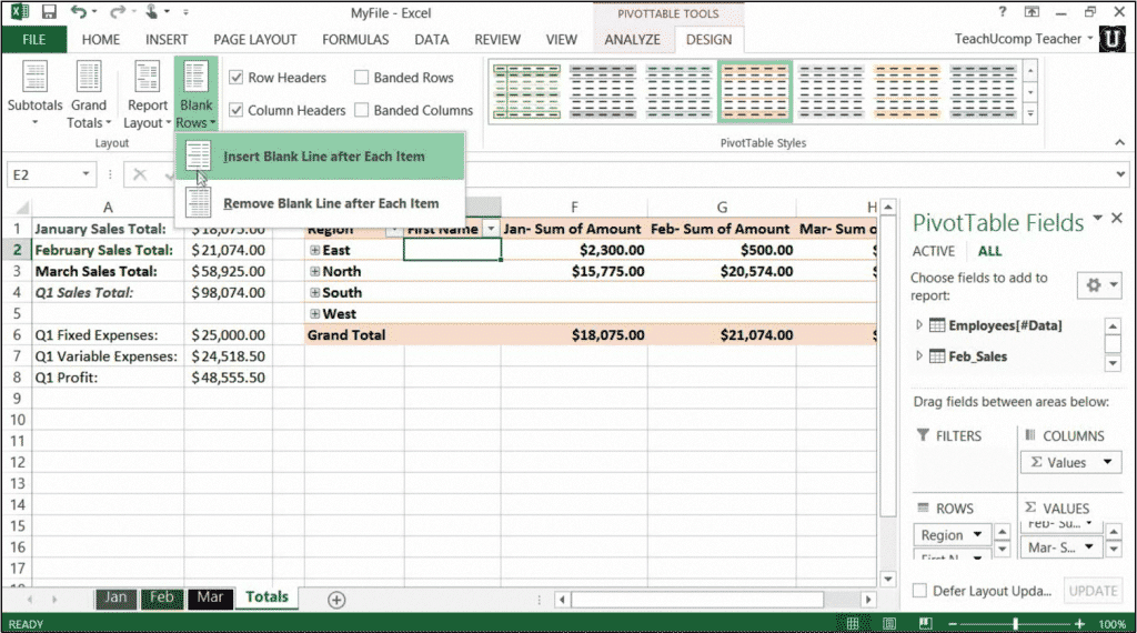 Format a pivottable in excel 2013 tutorial for Table design tab excel