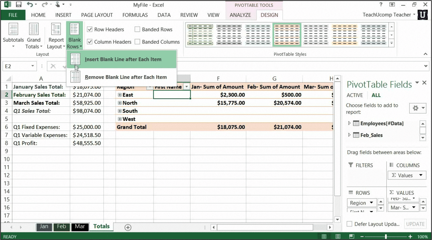 Pivot table excel tutorial for Excel table design