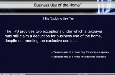 The Exclusive Use Test - Tutorial: A picture showing the possible exceptions to the exclusive use test when claiming a deduction for business use of the home.