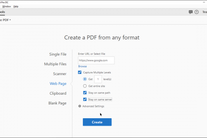 Create a PDF from a Web Page in Acrobat - Instructions: A picture of a user creating a PDF from a web page URL in Acrobat Pro DC.