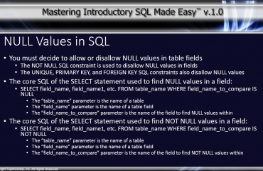 NULL Values in SQL - Tutorial: A picture of the main bullet points of the lesson on NULL values in SQL.