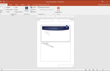 "Notes Master in PowerPoint- Instructions: A picture of the ""Notes Master"" view in PowerPoint."