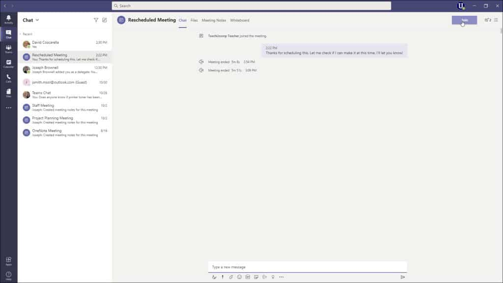 A picture of a user joining a meeting in Microsoft Teams via a previous meeting chat.