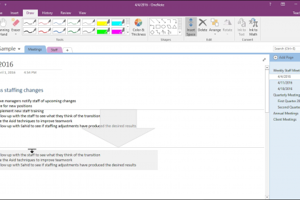 Add or Remove Note Space in OneNote - Instructions: A picture of a user adding space between notes in OneNote 2016.